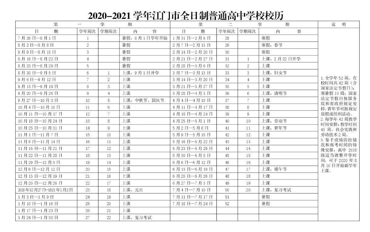 江门中小学校校历一览(2020-2021学年)