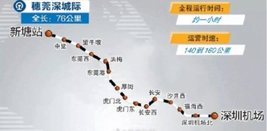 穗莞深城际铁路线路图(2019年最新)