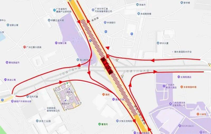 2021年1月6日起广州番禺大道塘西跨线桥封闭施工