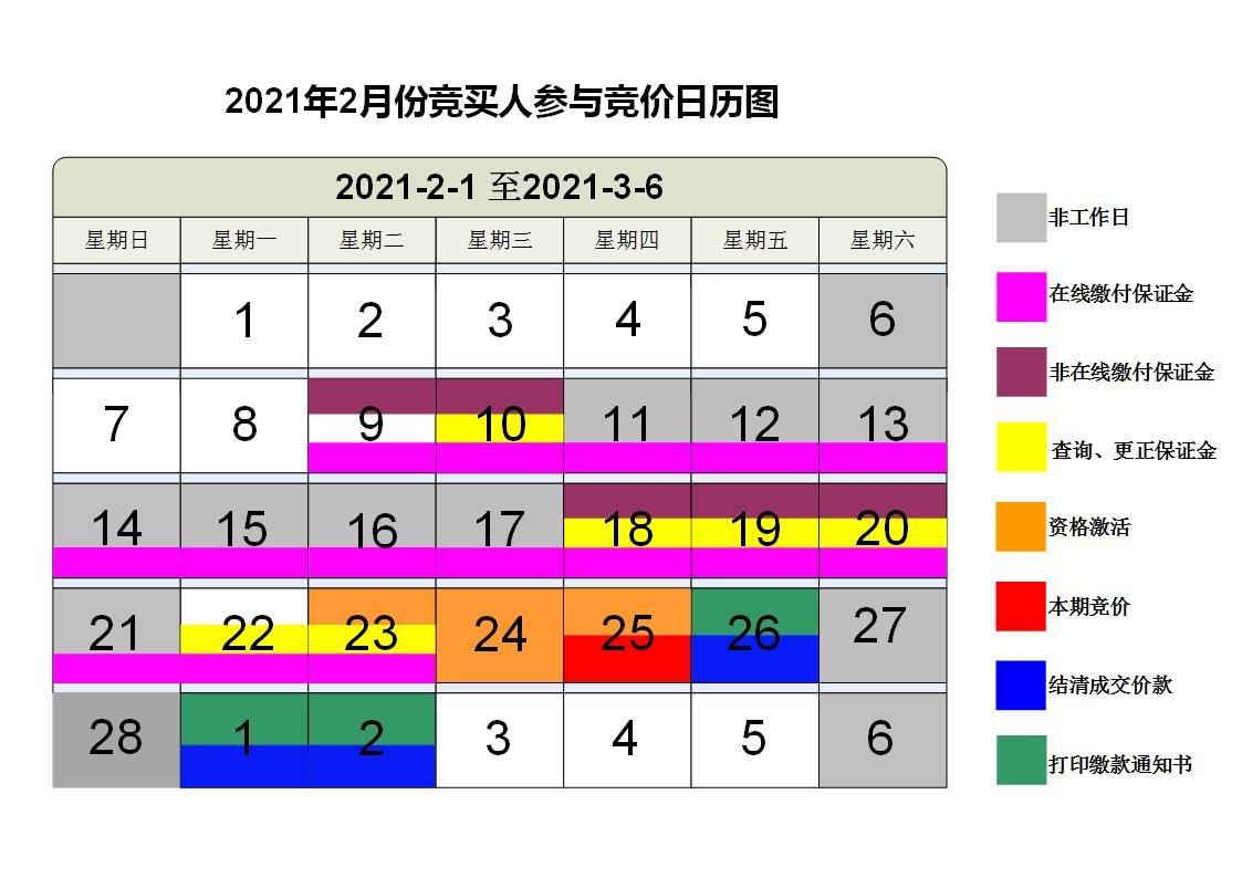 2021年2月广州车牌竞价日历图