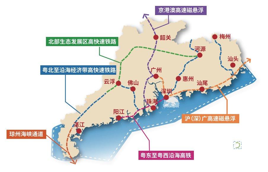 2021广东首次明确沪深广磁悬浮规划(线路+站点)