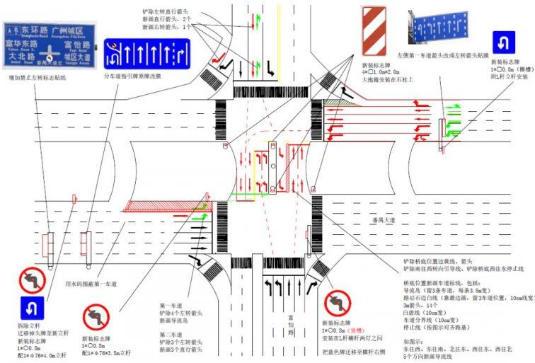 3月28日起广州番禺大道北南进口实施禁左措施(通行指引)