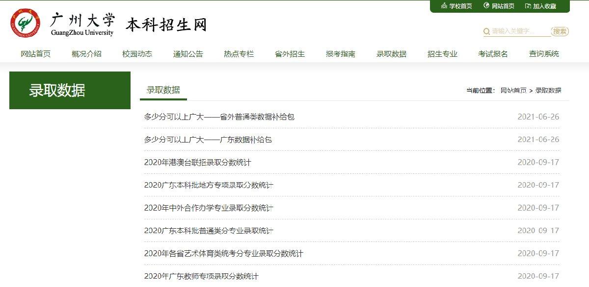广州大学历年录取分数线查询入口