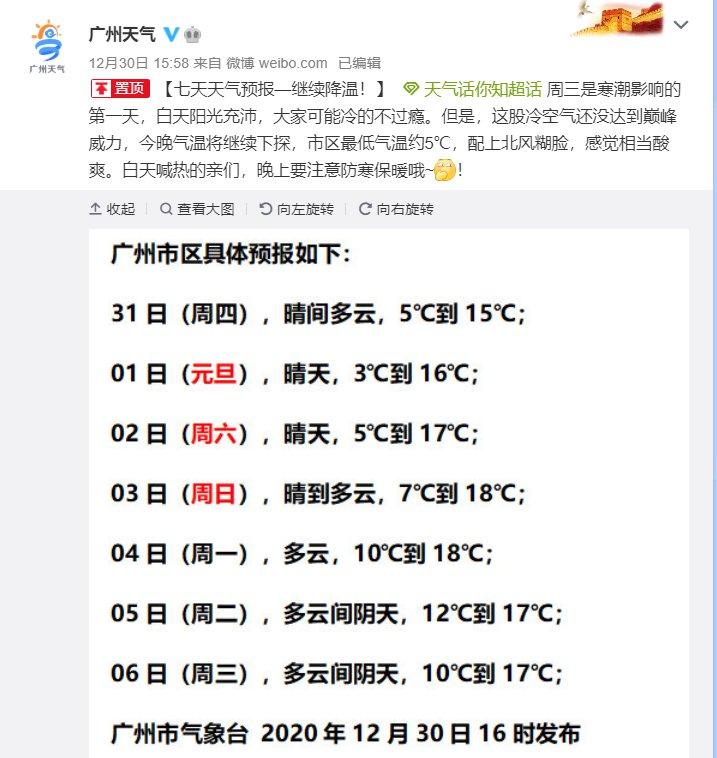 2020年12月31日广州天气晴间多云3℃~15℃