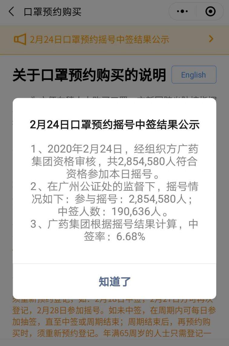 2月24日广州穗康口罩摇号中签率为6.68%
