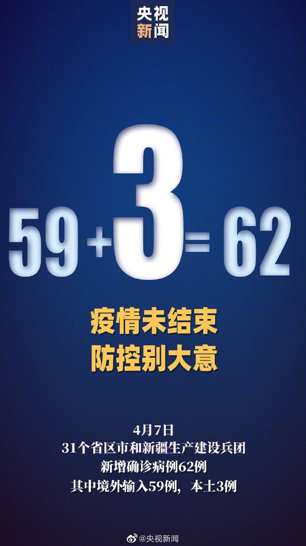 4月7日31省区市新增确诊病例62例 广东山东共新增3例本土病例