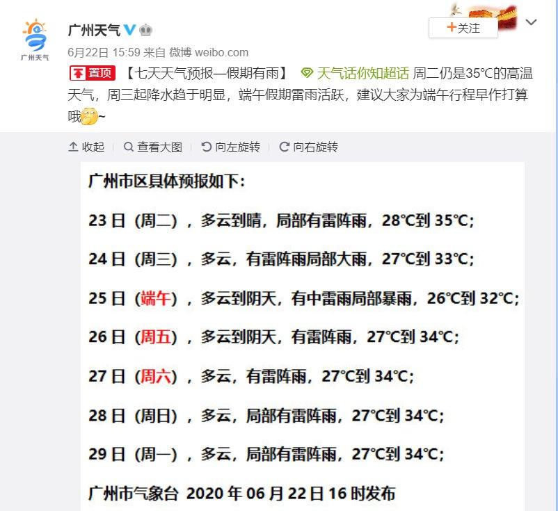 2020年6月23日广州天气多云到晴 局部有雷阵雨28℃~35℃