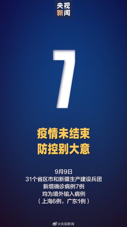 2020年9月9日31省区市新增境外输入7例