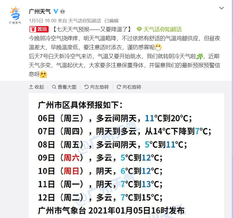 2021年1月6日广州天气多云间阴天10℃~20℃