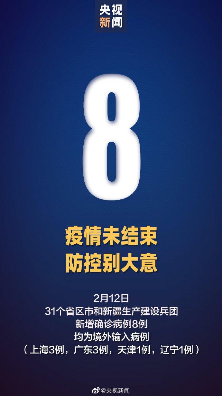 2月12日31省区市连续6天无新增本土确诊