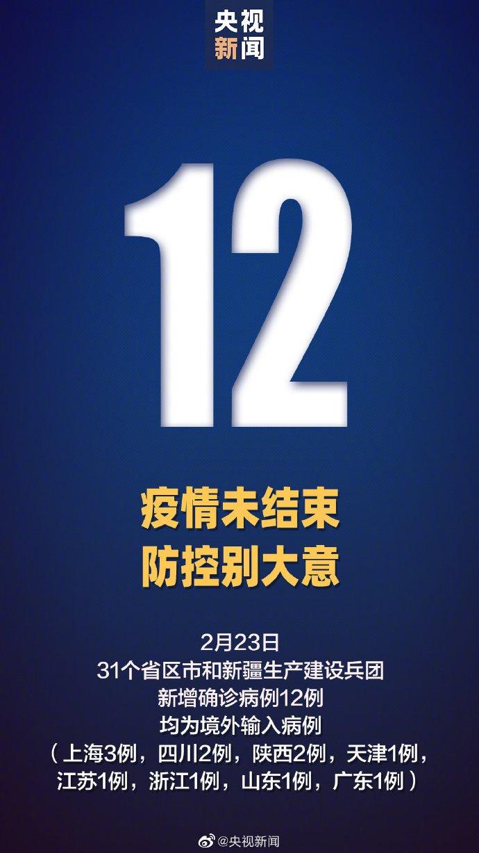 2月23日31省新增12例确诊均为境外输入
