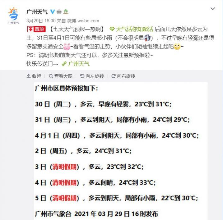 广州2021年4月3日清明节天气怎么样多少度?