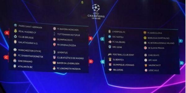 2019欧冠小组赛抽签结果一览