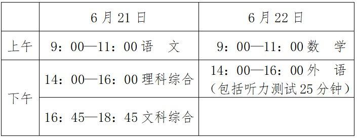 2021邯郸中考升学考试时间+科目