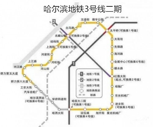 哈爾濱3號線二期的線路圖