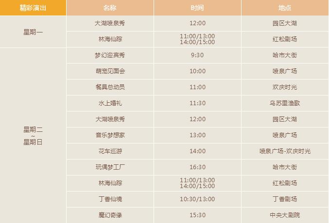 哈尔滨万达乐园最新运营时间表 演出时间表