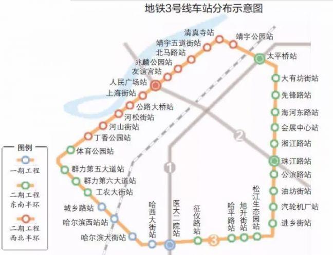 哈爾濱地鐵3號線一期最新規劃(線路圖 站點 通車時間)