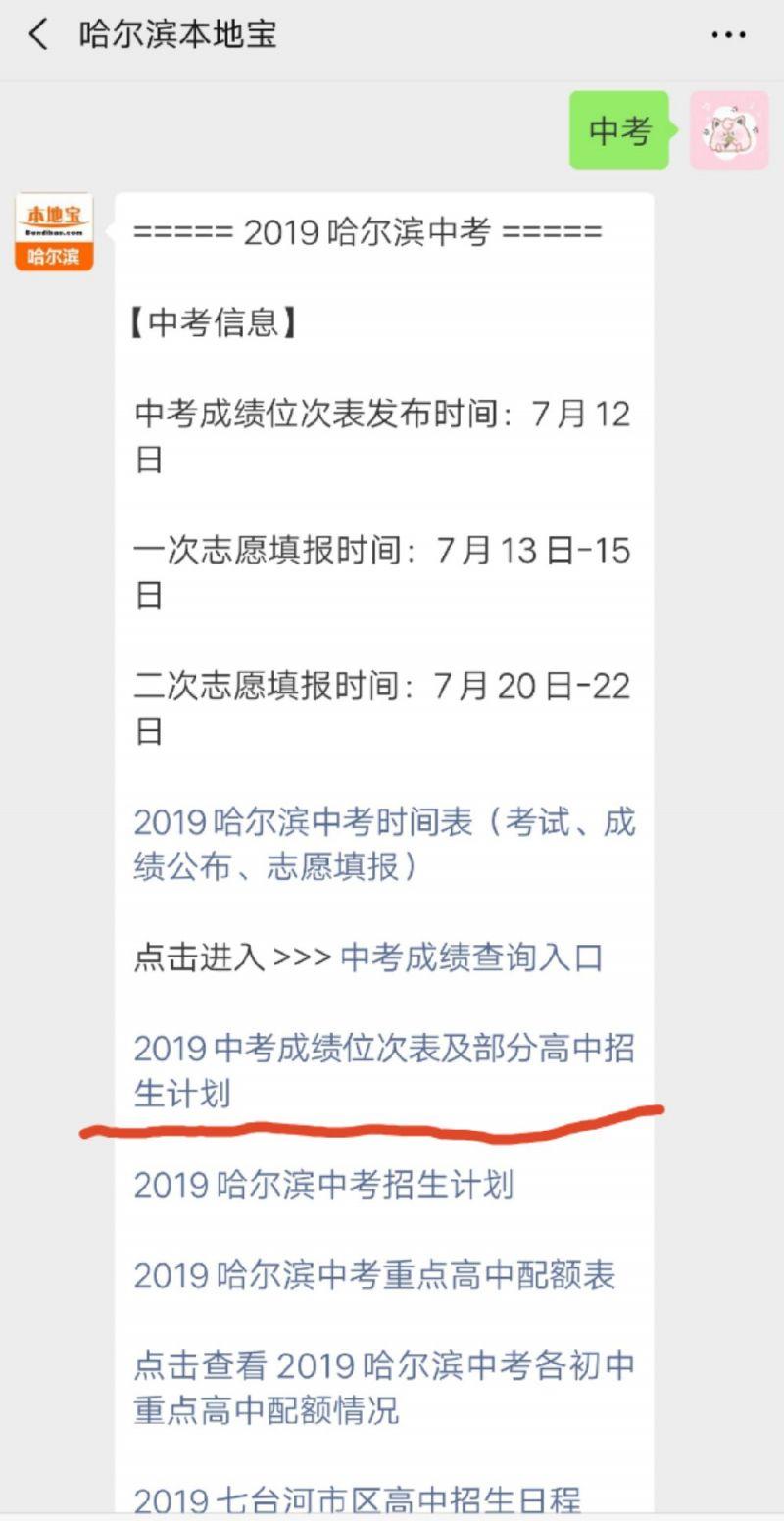 2019哈尔滨中考成绩位次表