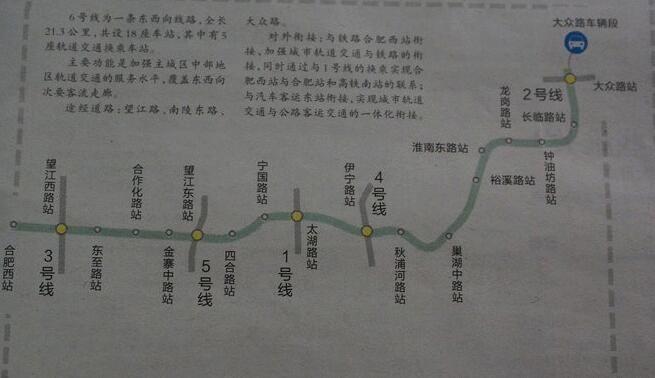 合肥地铁6号线线路图(最新)