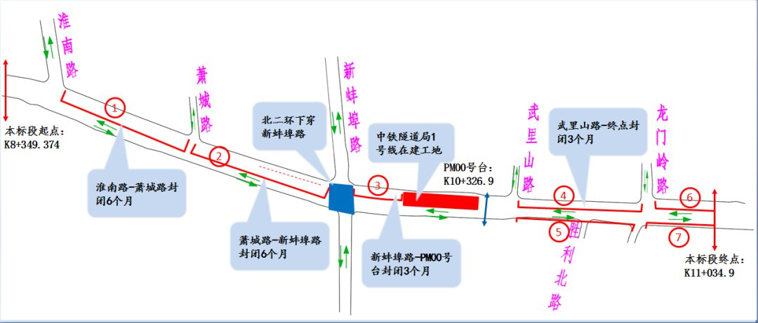 合肥板桥河龙门岭路东侧封闭施工(附绕行方案)