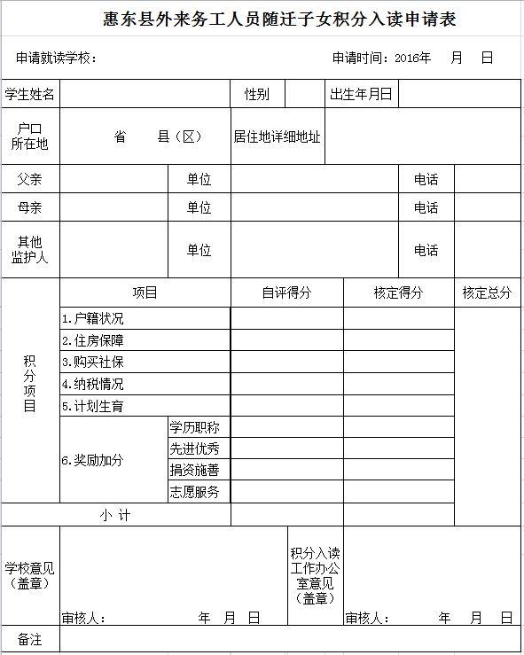 惠东县外来务工人员随迁子女积分入读申请表