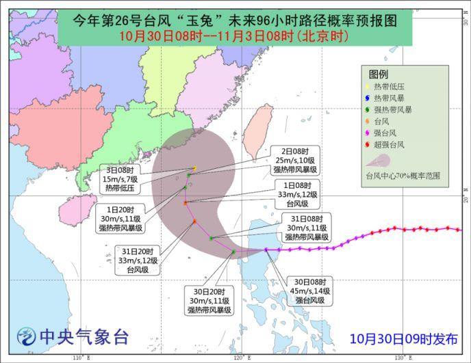 2018第26号台风玉兔实时路径图(附查询入口)