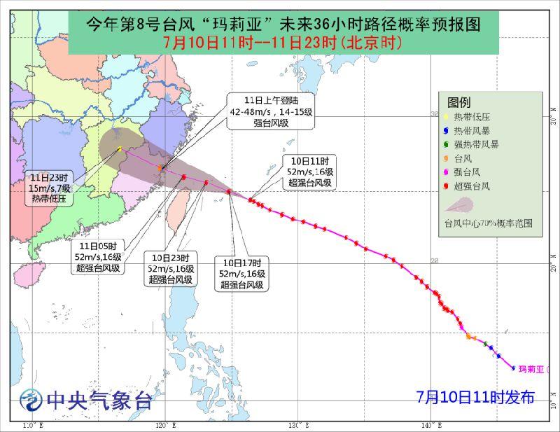 """2018年第8号台风""""玛利亚""""将在哪里登陆"""