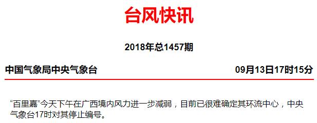 """2018年第23号台风""""百里嘉""""停止编号"""