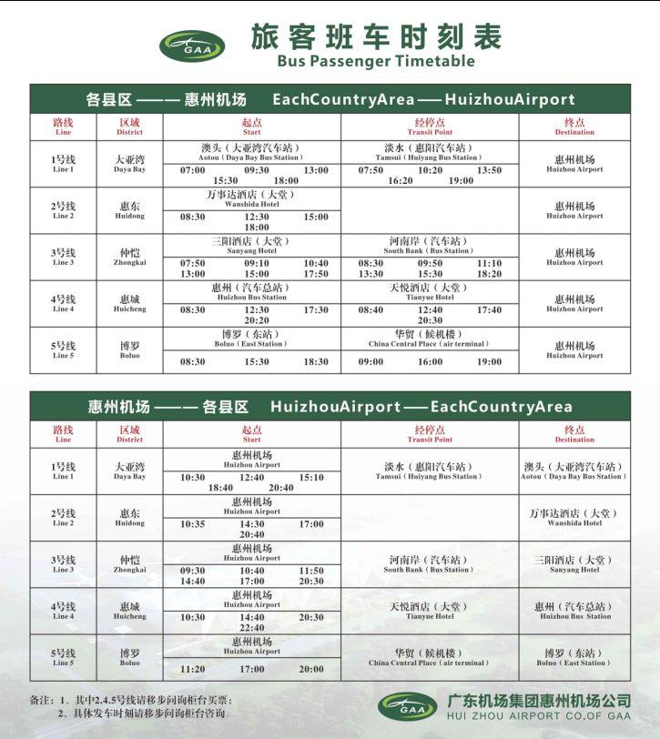 2019惠州机场大巴时刻表
