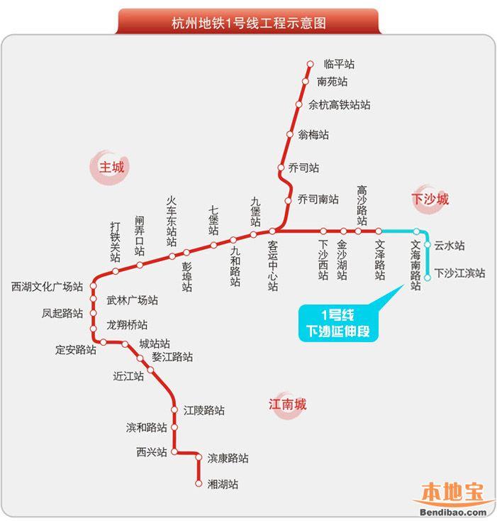 杭州地铁1号线延伸段最新消息 开通时间 站点 线路图
