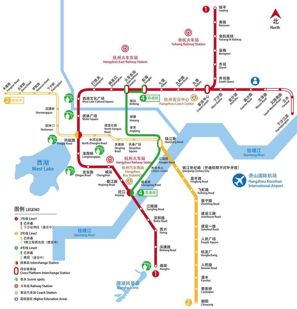 杭州2号线地铁线路图 杭州2号线
