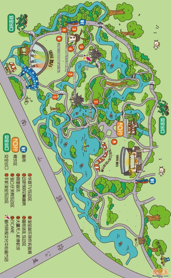 西湖旅游卡通地图