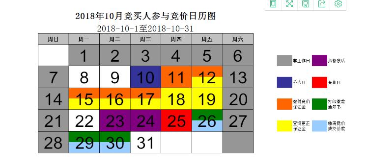 2018年11月小客车竞价日历图
