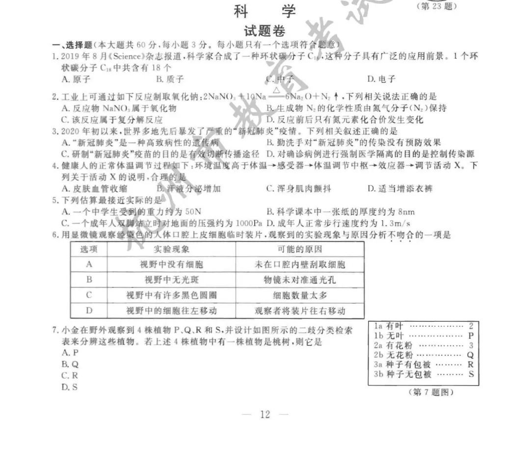 杭州市中考卷_2020杭州中考科学试题答案一览- 杭州本地宝