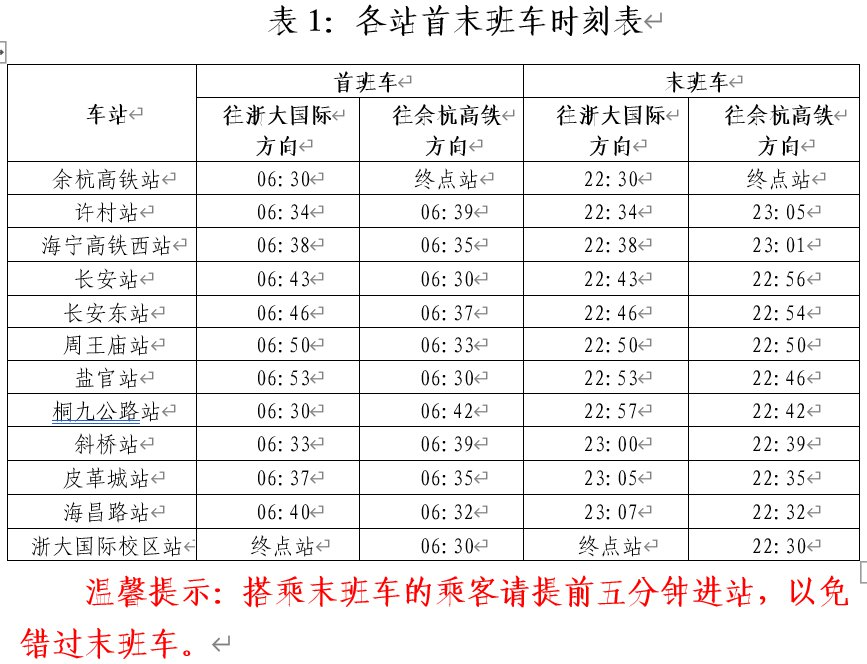 杭海城际铁路(票价 发车时间表 路线图)