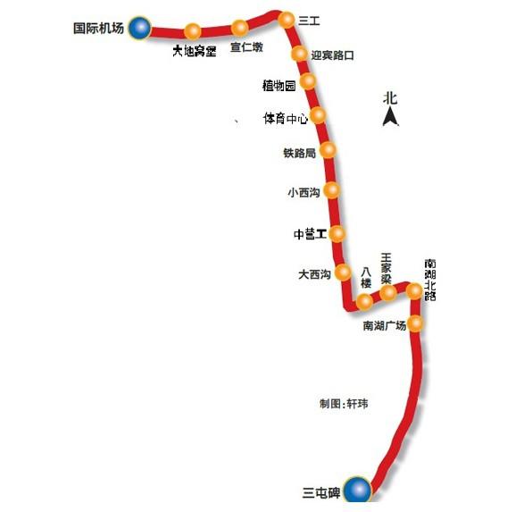 乌鲁木齐地铁1号线路图