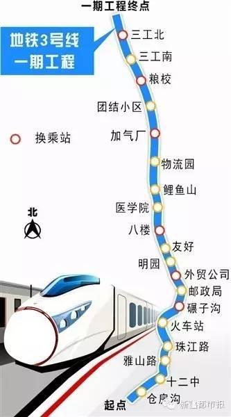 乌鲁木齐交通 乌鲁木齐地铁 > 乌鲁木齐3号线路一期工程线路图