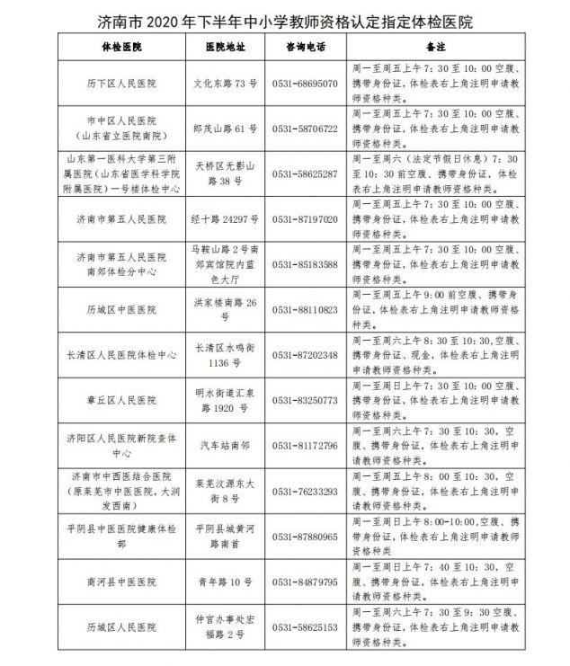济南市2020年下半年中小学教师资格认定9月16日