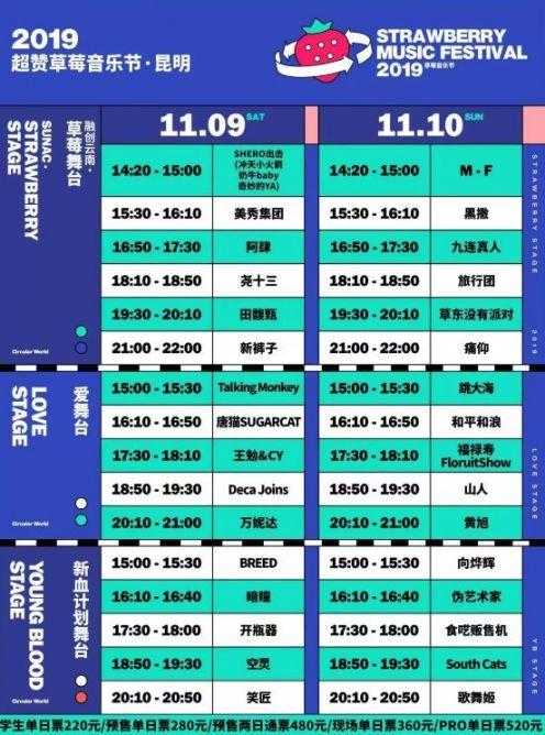 2019昆明草莓音乐节观演全攻略(时间 阵容 门票)