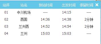 兰州中川机场到兰州西站高铁时刻表