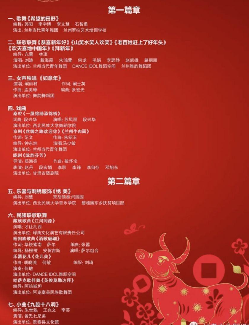 2021甘肃春晚节目单有哪些