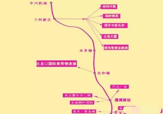 兰州地铁1-5号线线路+线网图
