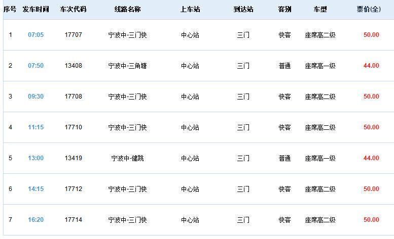 宁波客运中心时刻表查询(发车时间 车票价格)