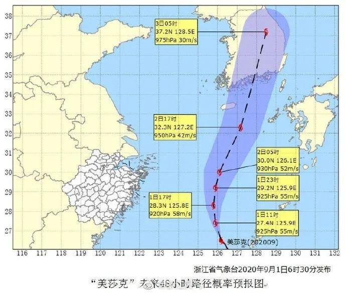 2020年九号台风美莎克对宁波有影响吗?附最新台风消息