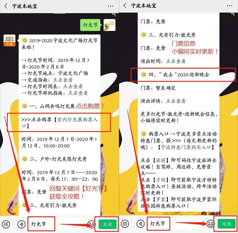 2020年宁波文化广场灯光节有哪些免费项目?