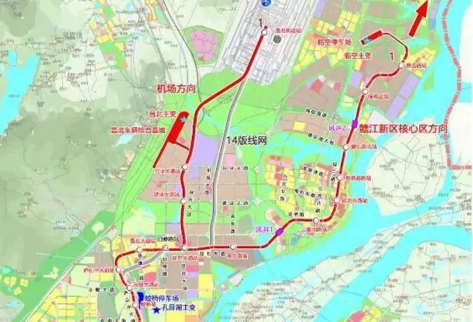 南昌地铁1号线赣江新区方向站点名称及线路走向一览