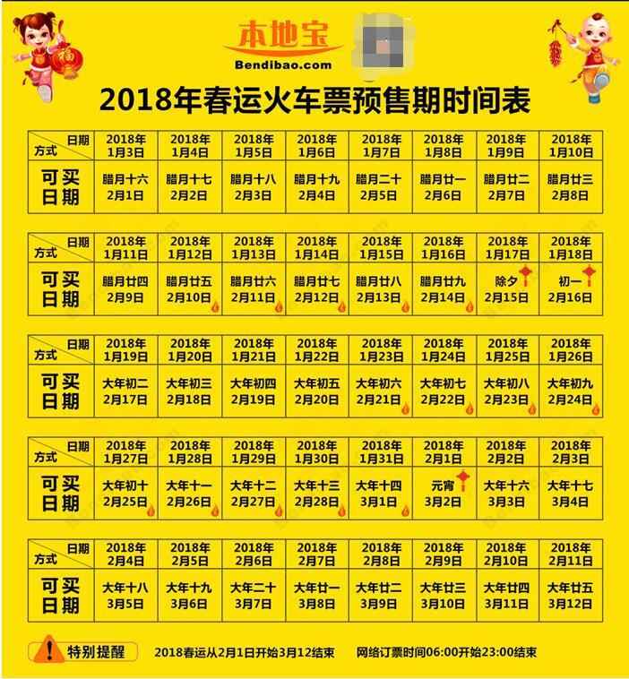 2018年春运抢票时间(附购票日历)
