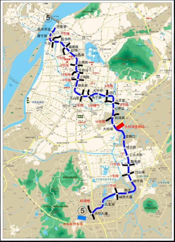 南京地铁5号线最新线路图