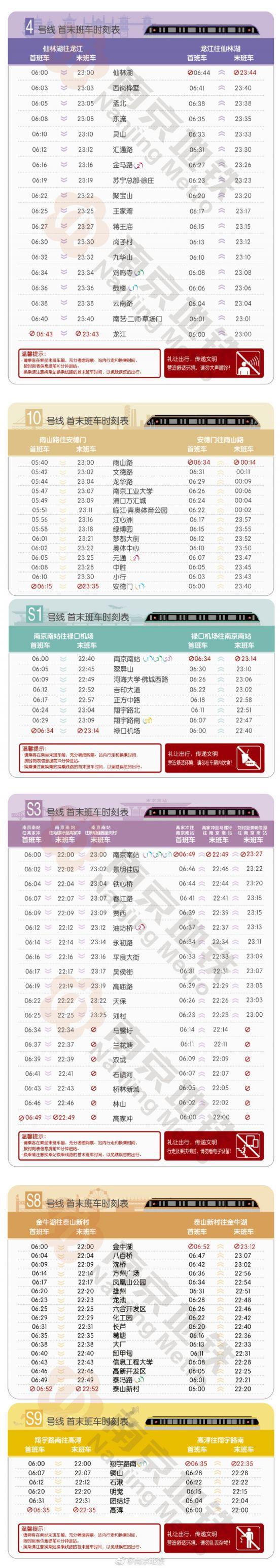 2018南京地铁首末班时间一览表