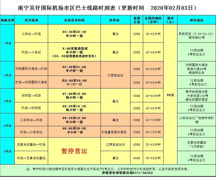 204日起南宁机场大巴5号线暂停运营